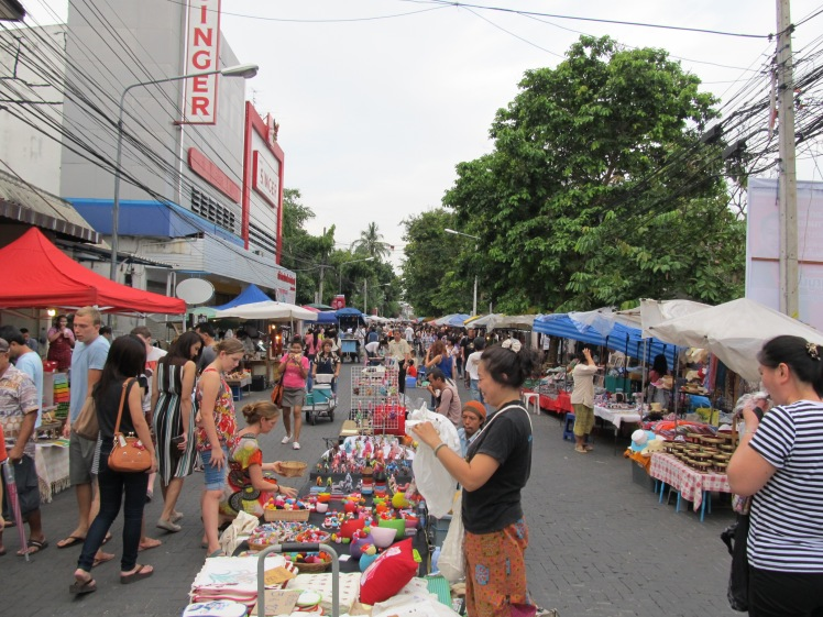 Setting up the street market, Chiang Mai