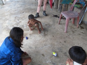 The children enjoying their new toys