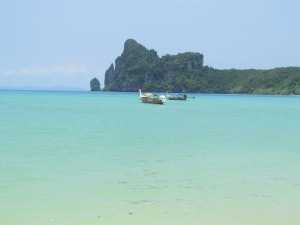 Clear seas off the coast of Phi Phi (with hidden rubbish).