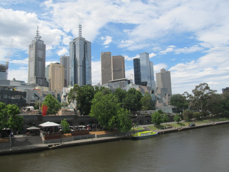 Melbourne skyline over the Yarra River.