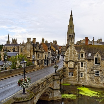 The town bridge on a typically wet day in my hometown, Stamford, Lincolnshire.
