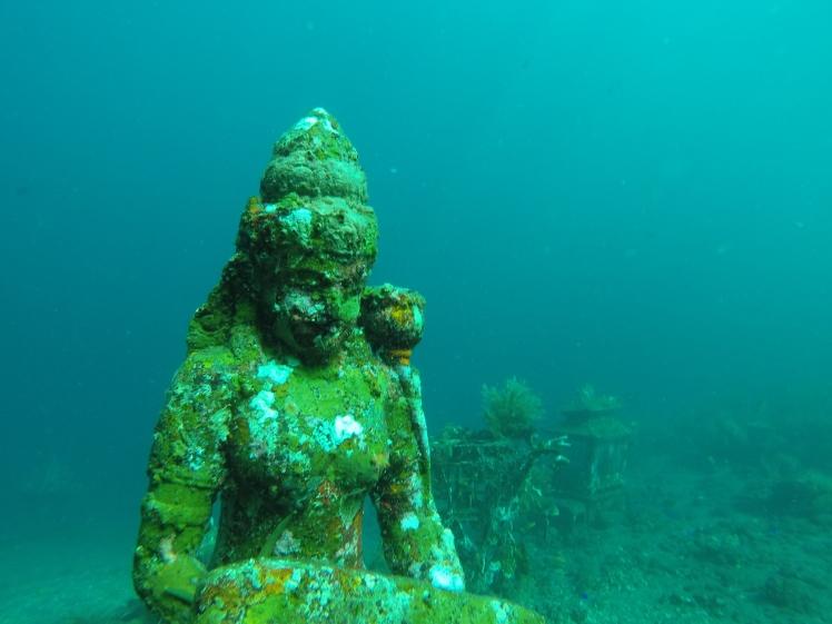 Underwater temple at Tulamben, Bali.
